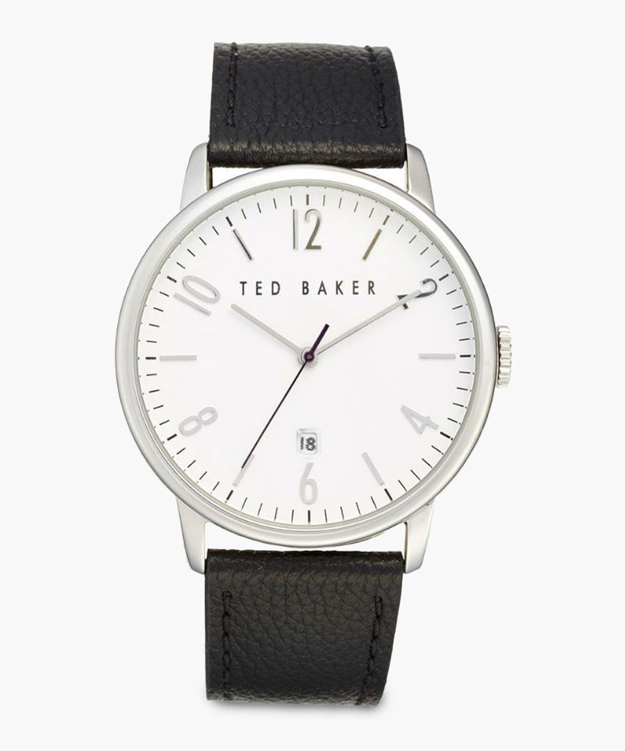 Black leather and stainless steel watch