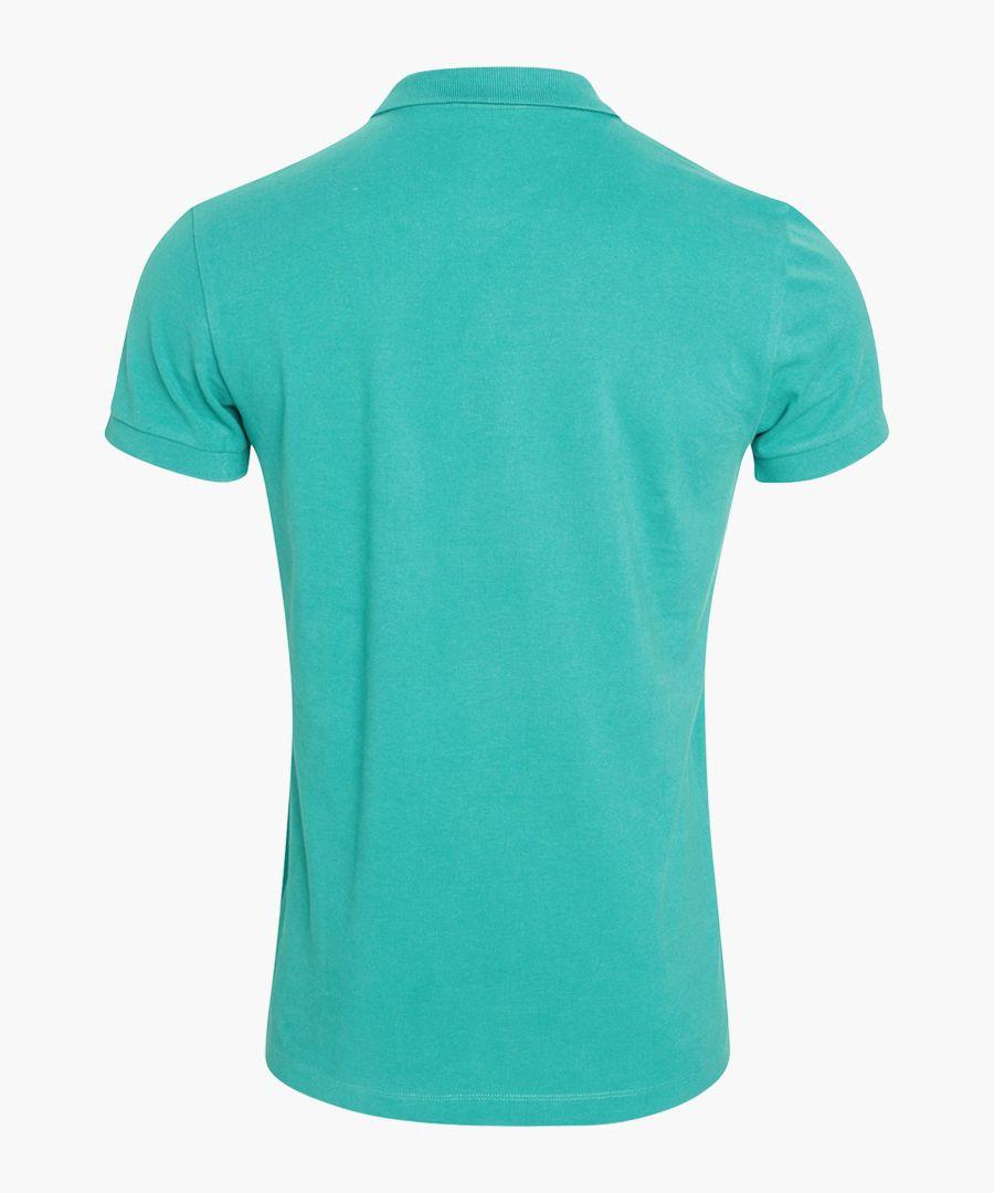 Blue pure organic cotton polo shirt