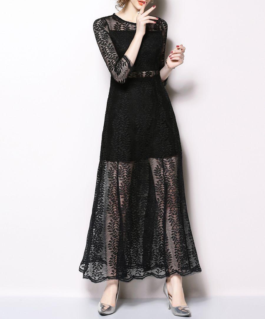 Black sheer lace maxi dress
