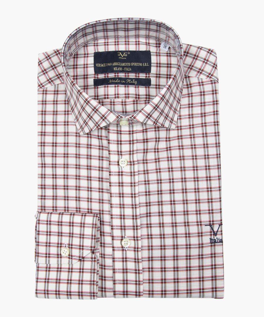 Multi-coloured pure cotton classic collar shirt