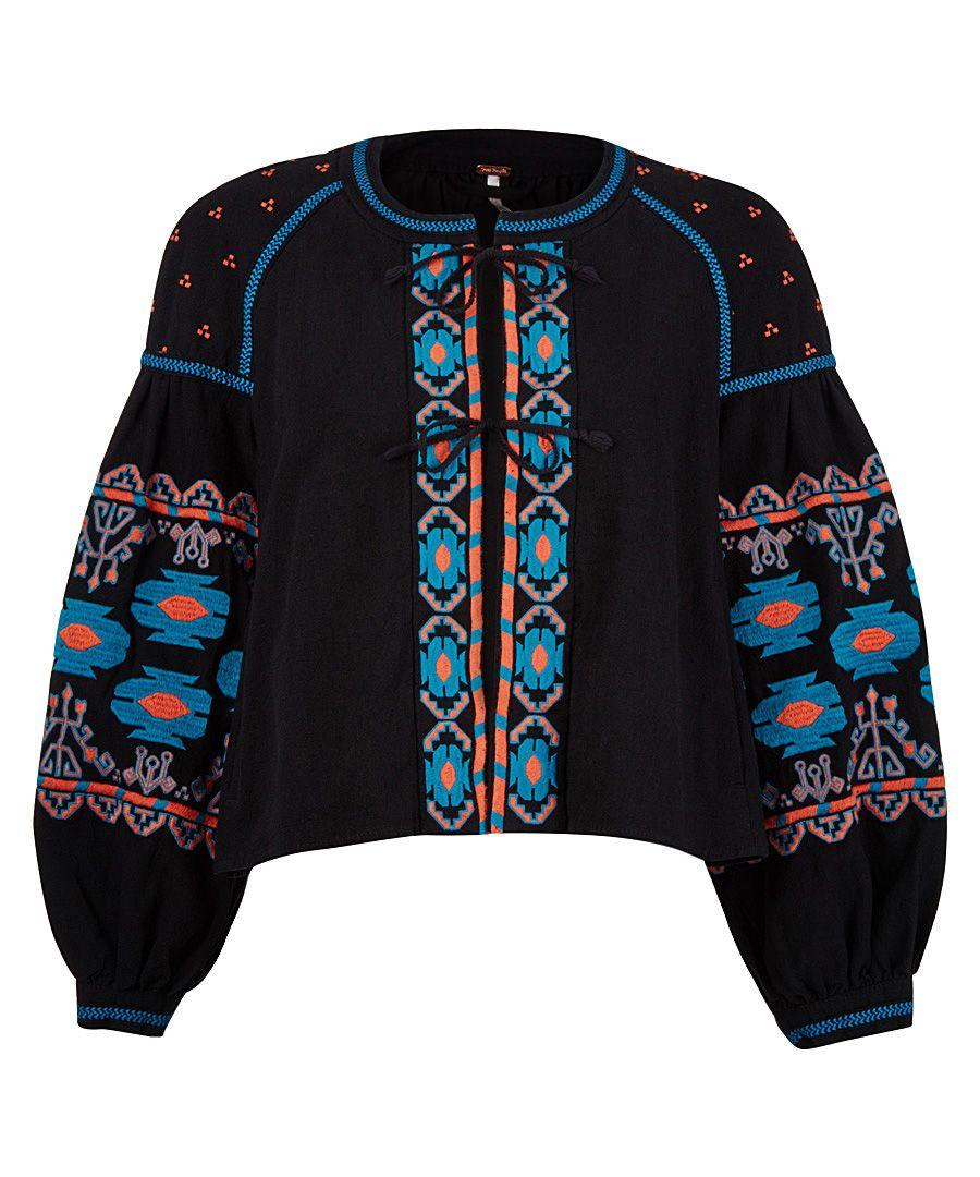 Black embroidered tie-up jacket