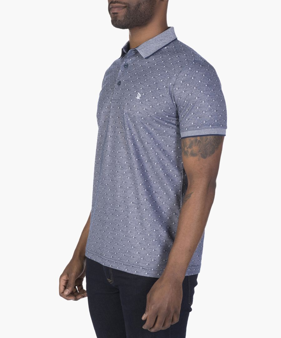 Navy and white polo shirt