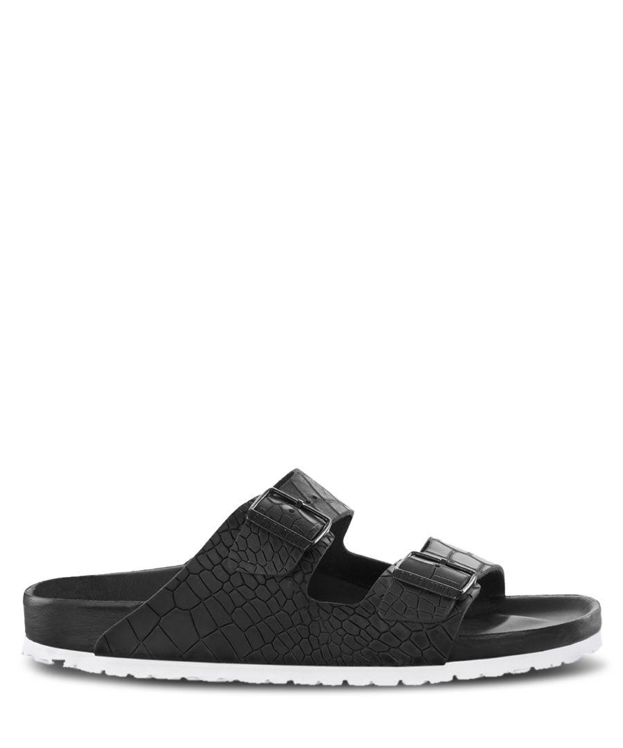 Arizona black leather moc-croc sandals
