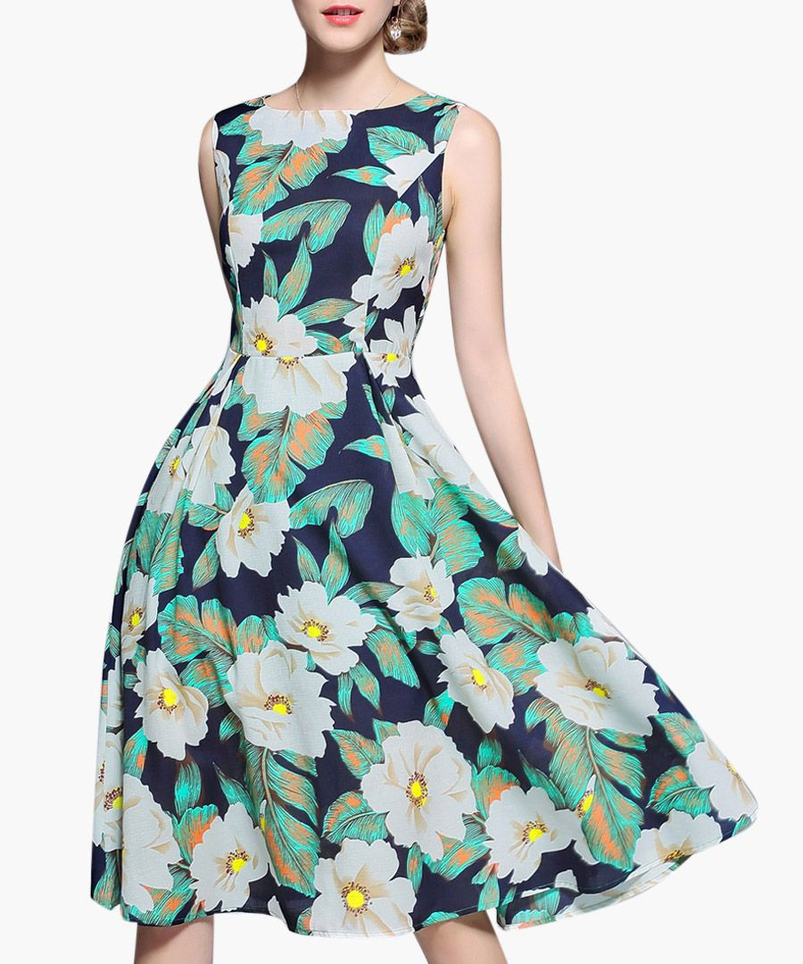 Green floral print sleeveless dress