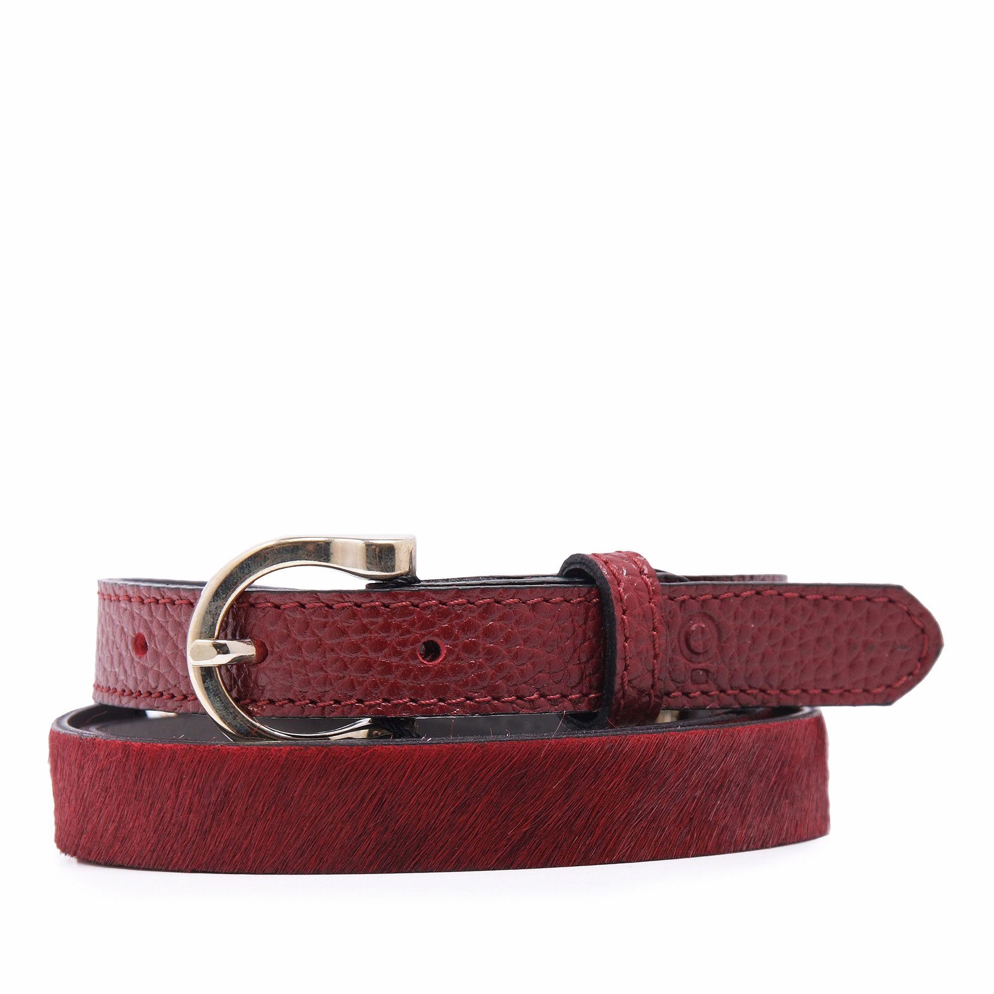 Womens Burgundy Leather Belt