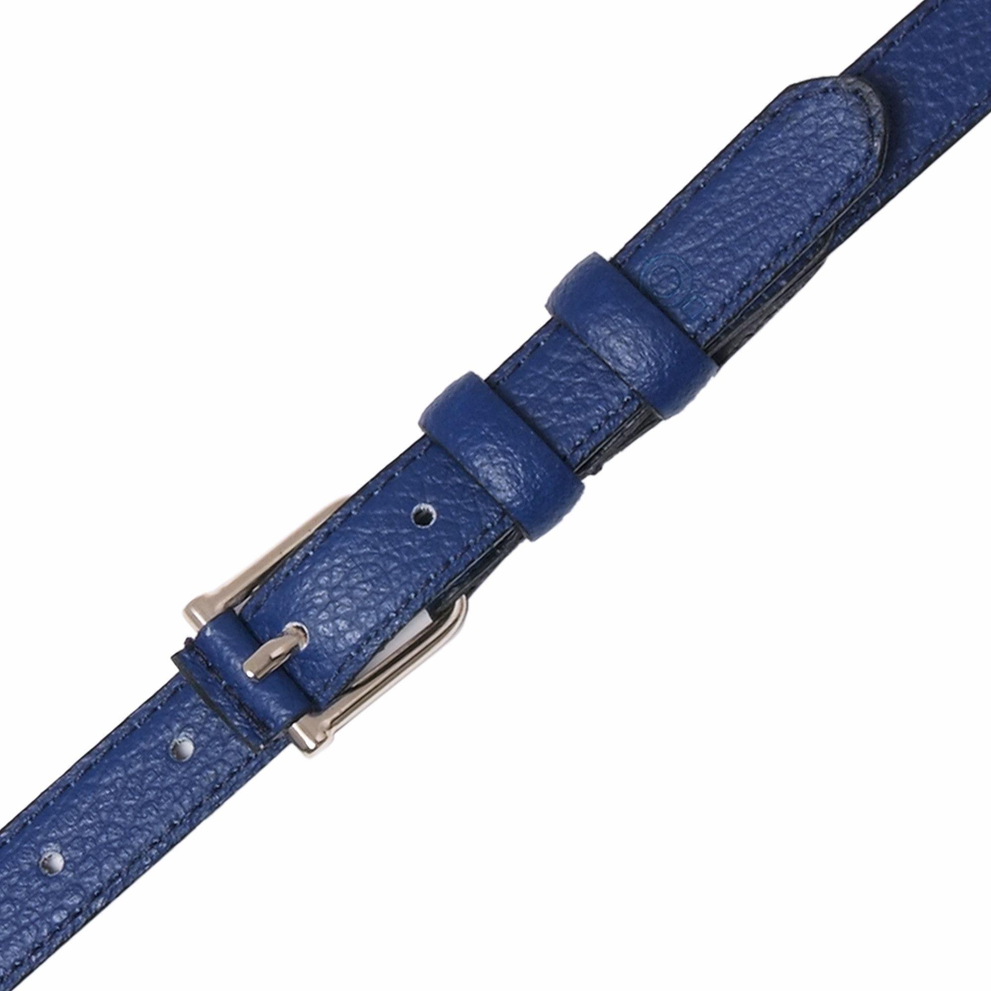 Womens Blue Leather Belt