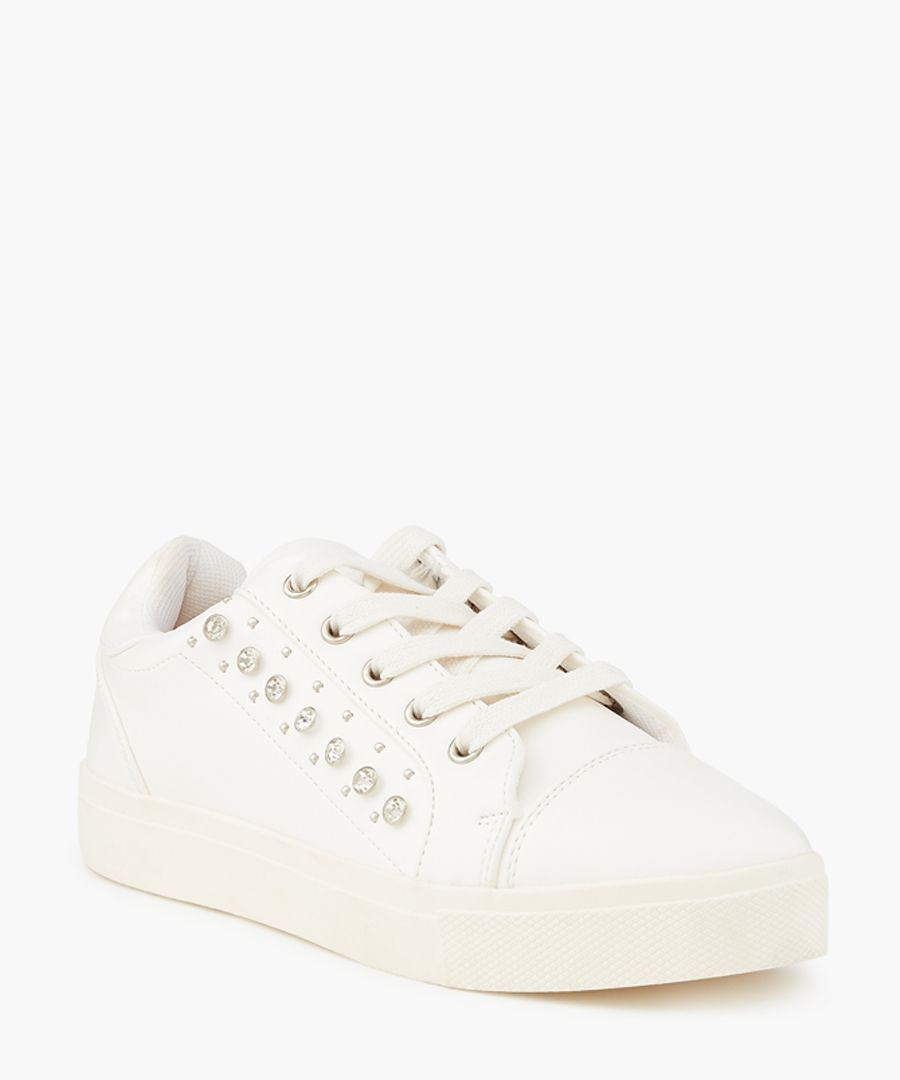 Juke white crystal detail sneakers