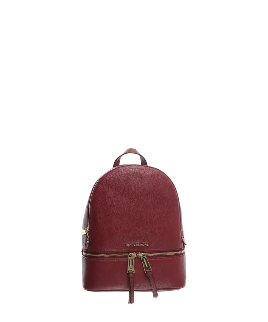 Rhea red leather backpack
