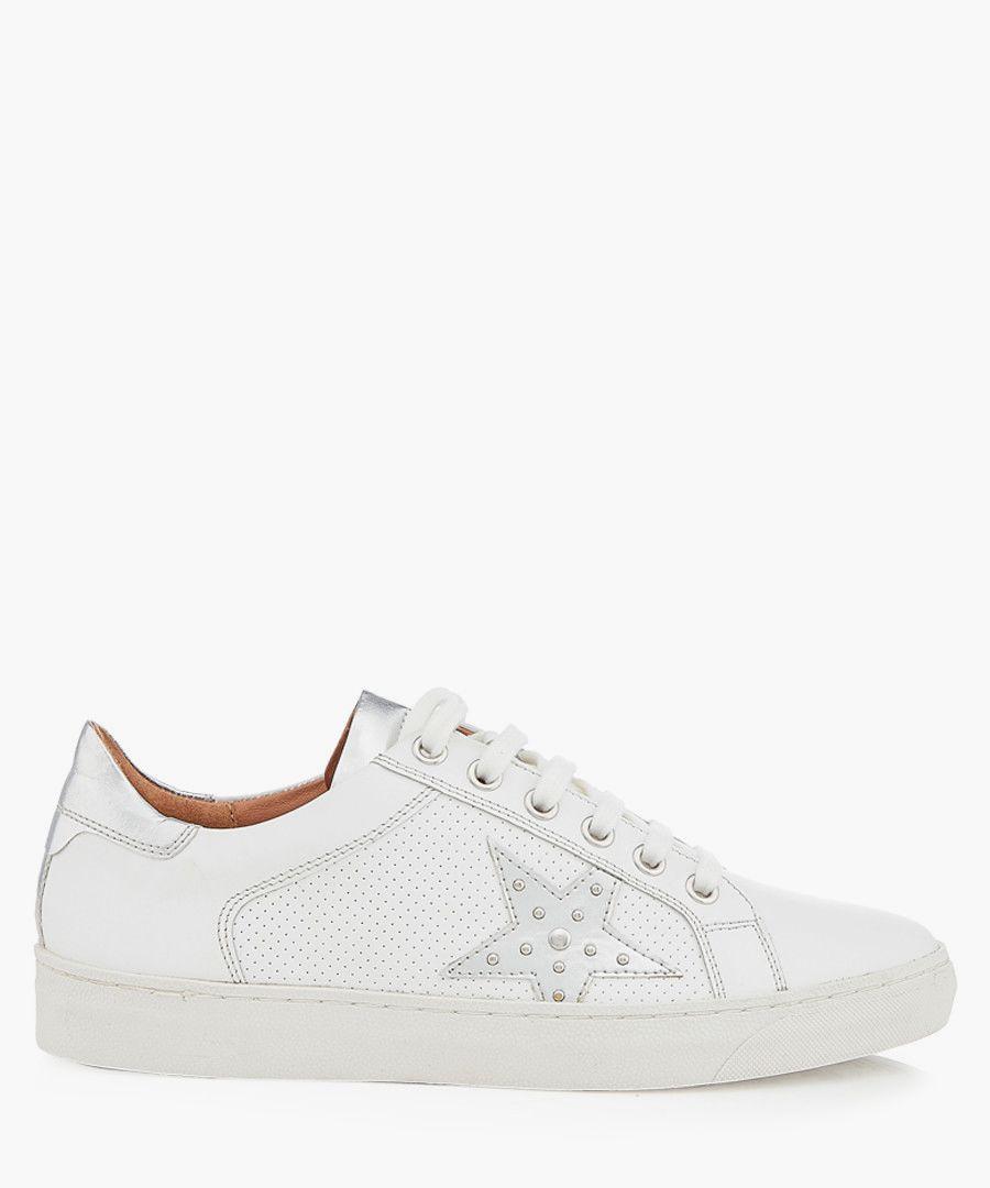 Dune White & silver-tone star sneakers Footwear/Sneakers white, silver