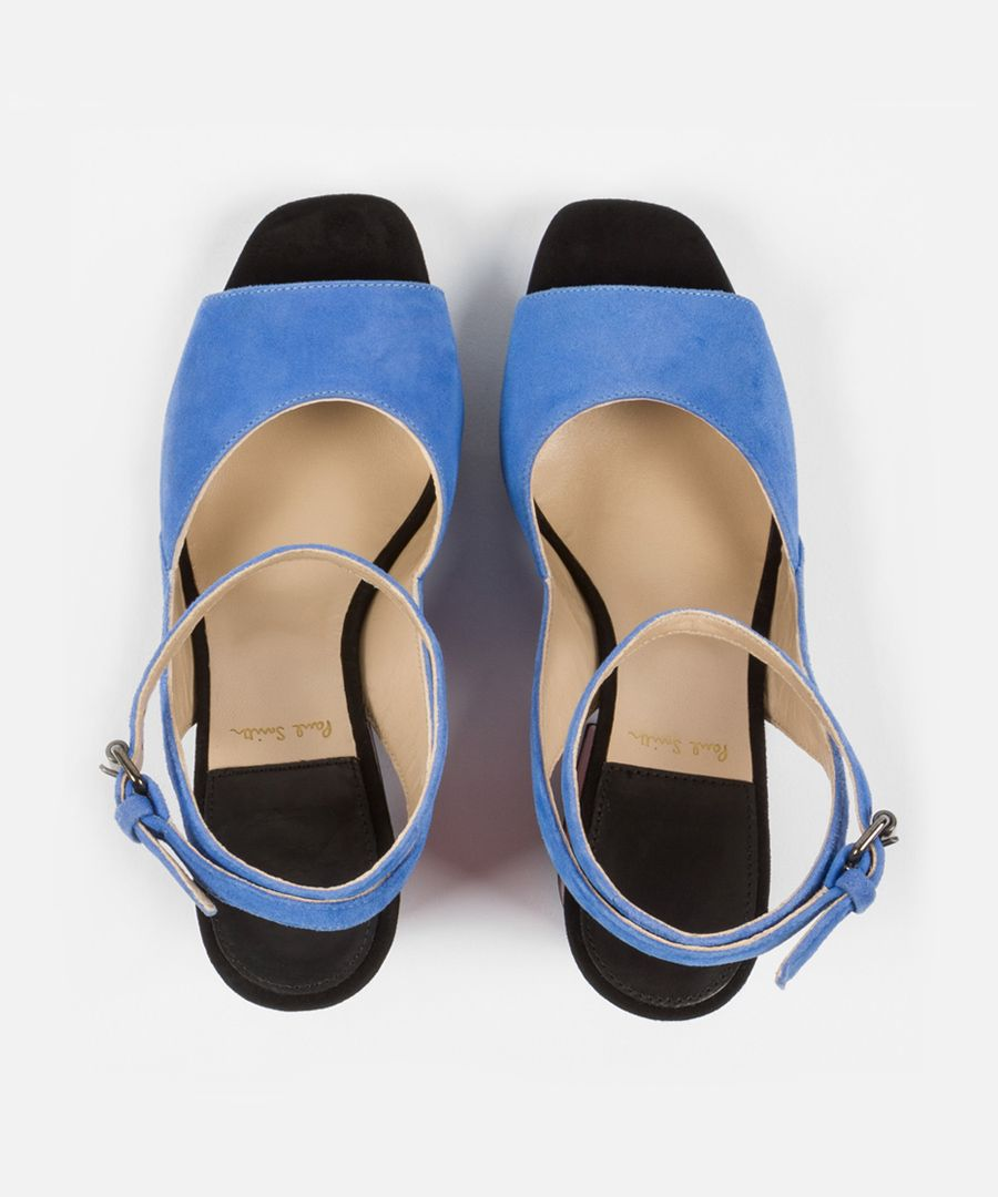 Cornflower blue suede open-toe heels