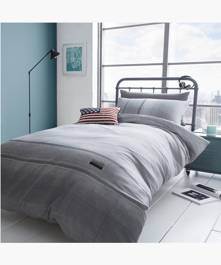 Denim grey cotton blend double duvet set