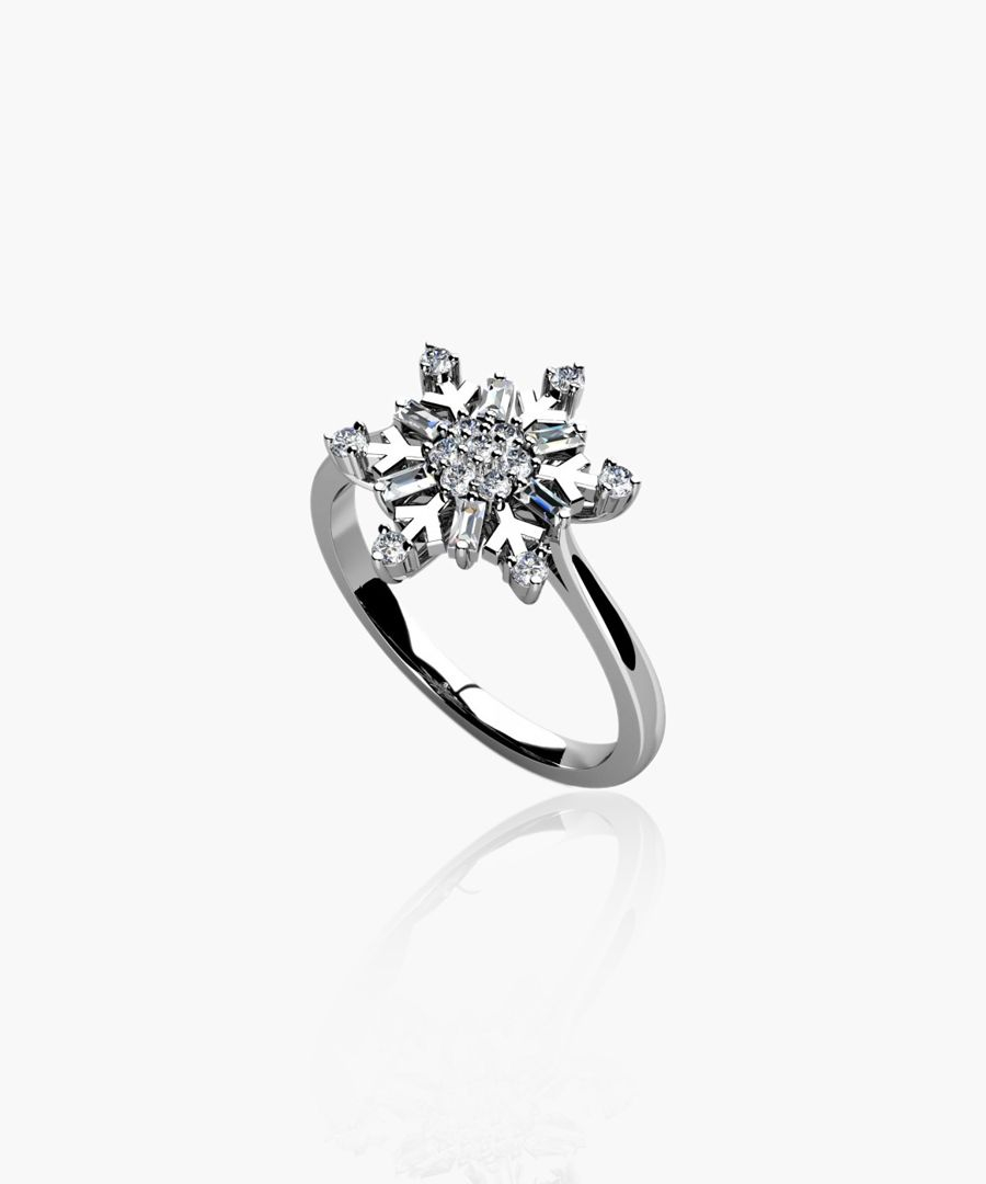 9k white gold 0.33ct diamond snowflake ring