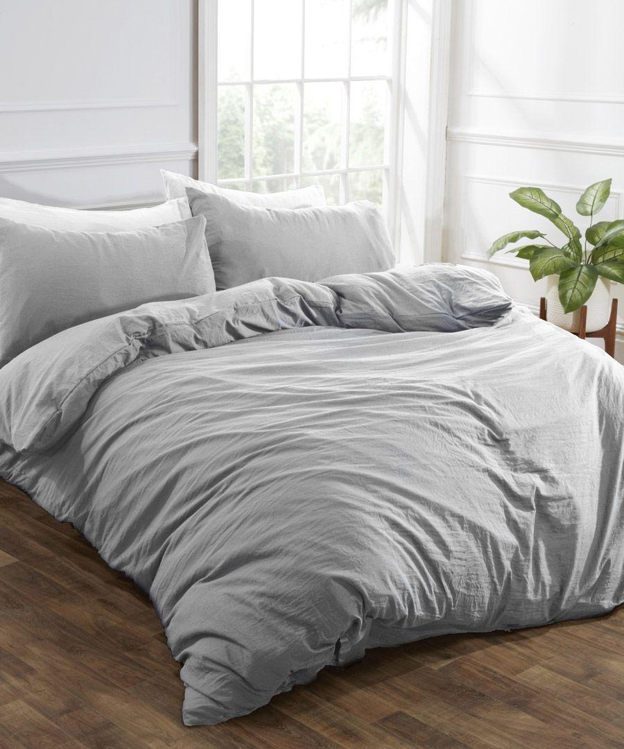 Grey washed linen-style double duvet set