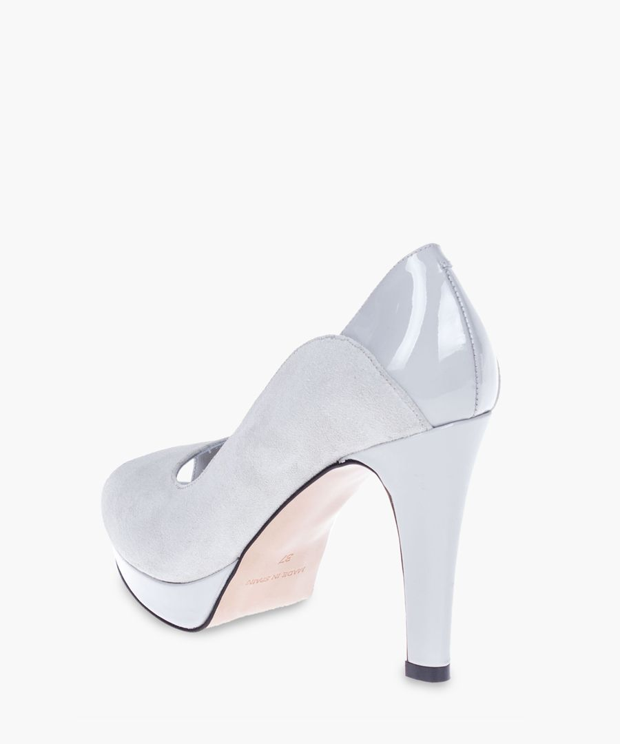 Blue leather heels