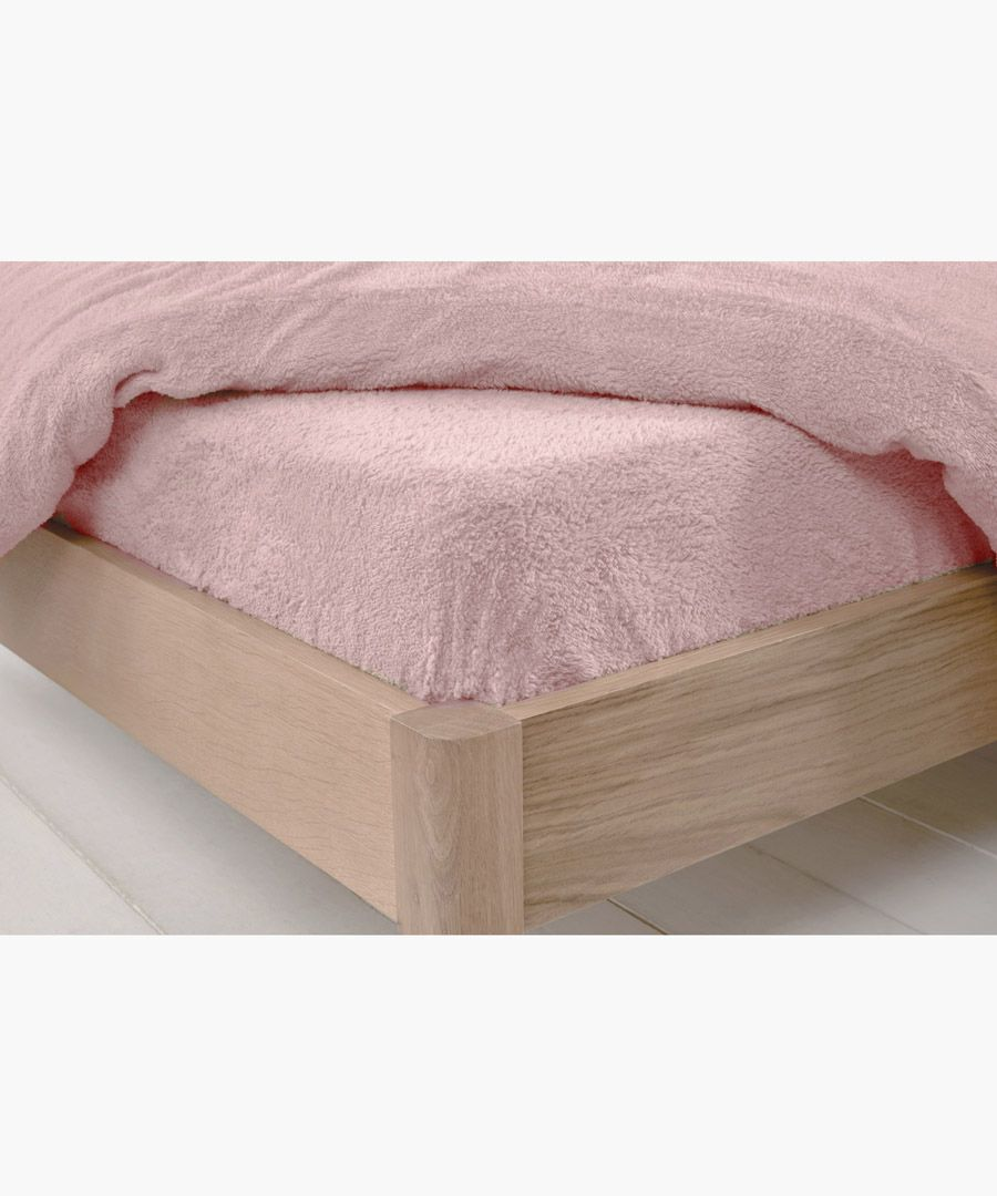 Blush single teddy fitted sheet