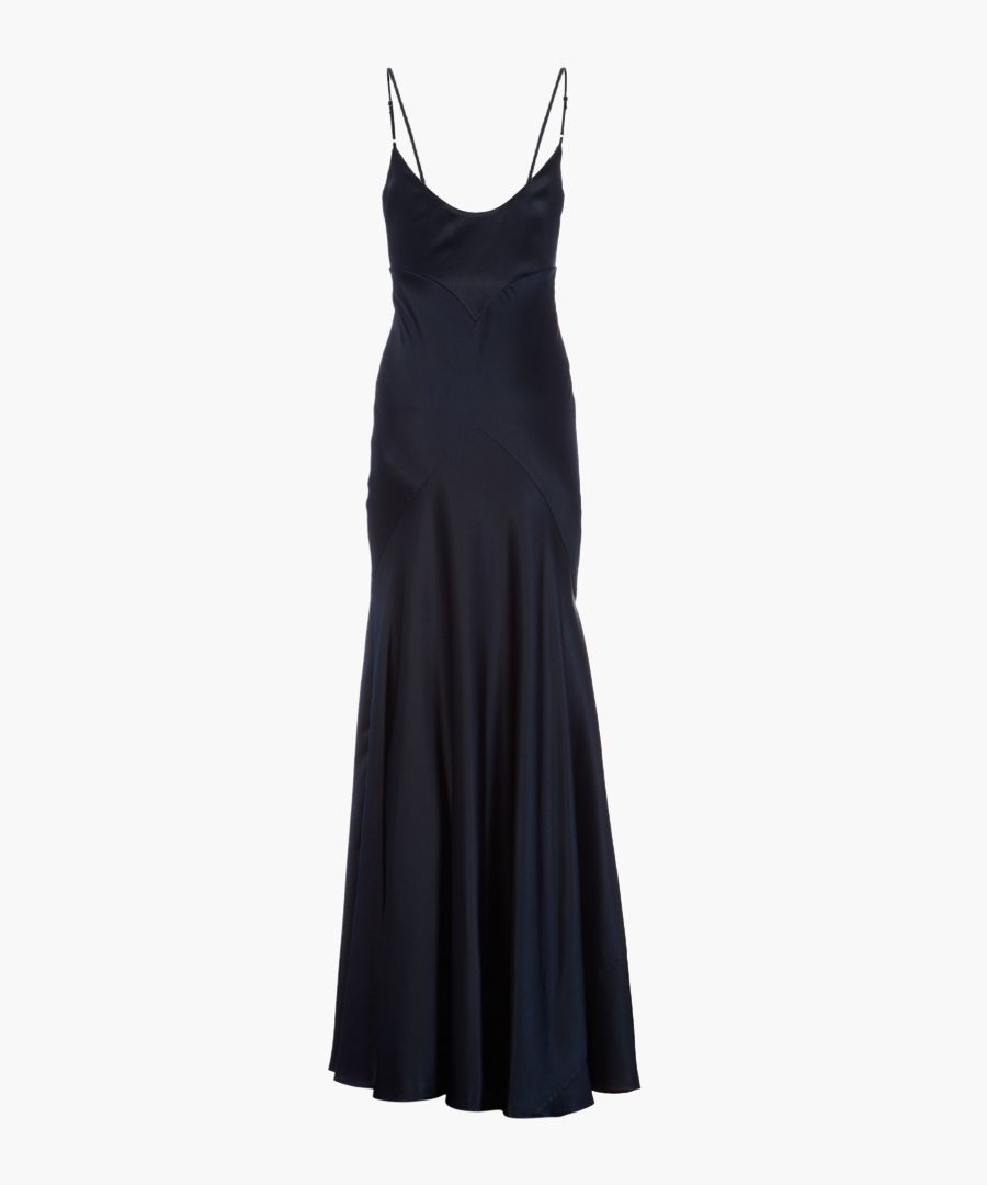 Midnight satin strappy maxi dress