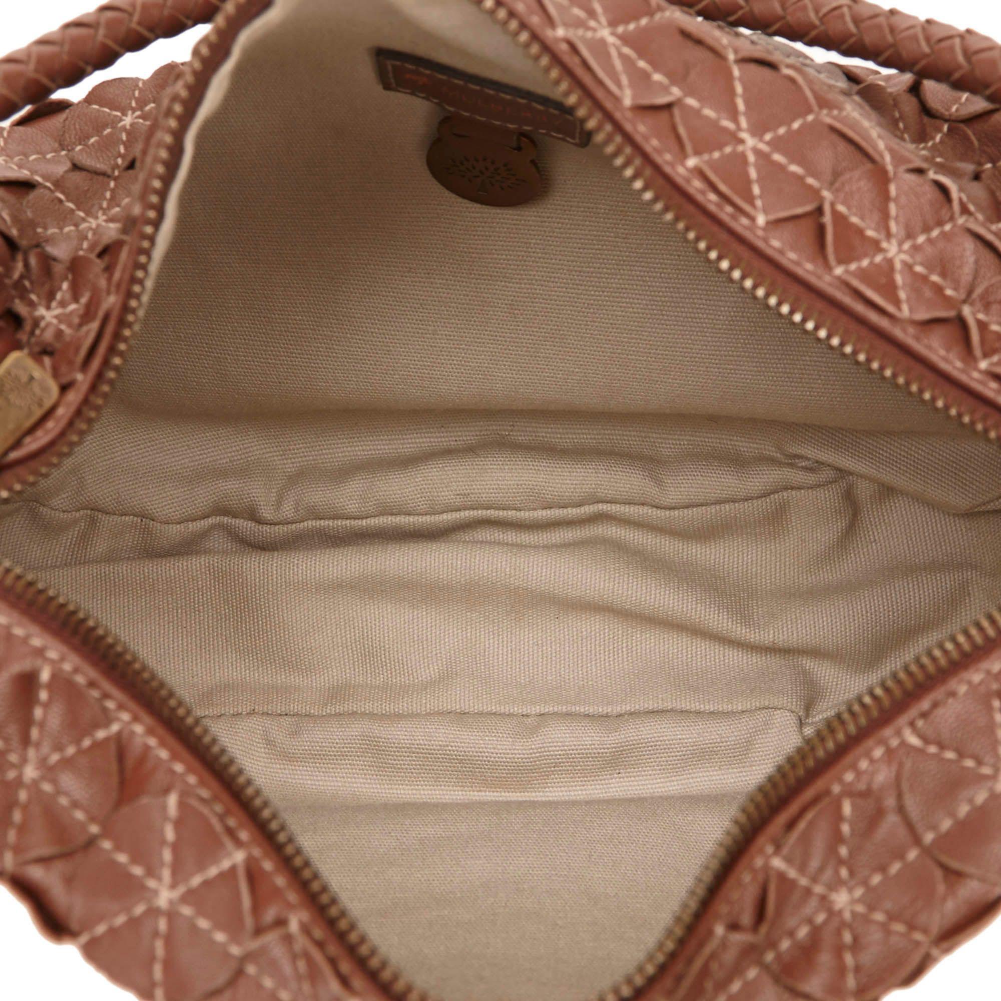 Vintage Mulberry Textured Leather Shoulder Bag Brown