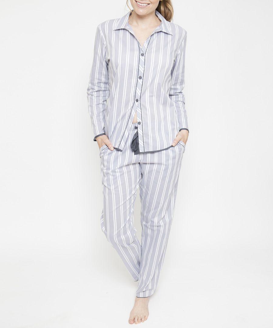 Aspen grey cotton striped pyjama trousers