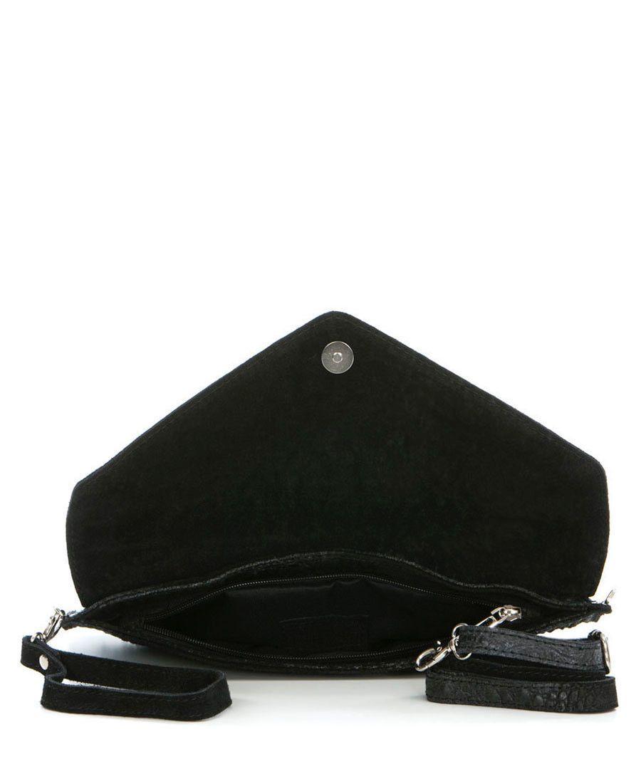 black leather moc-croc clutch bag