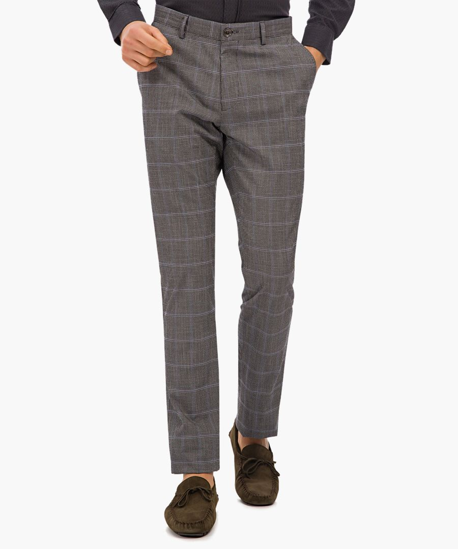 grey check cotton trousers