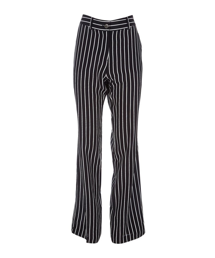 Lita black pure silk pinstripe trousers
