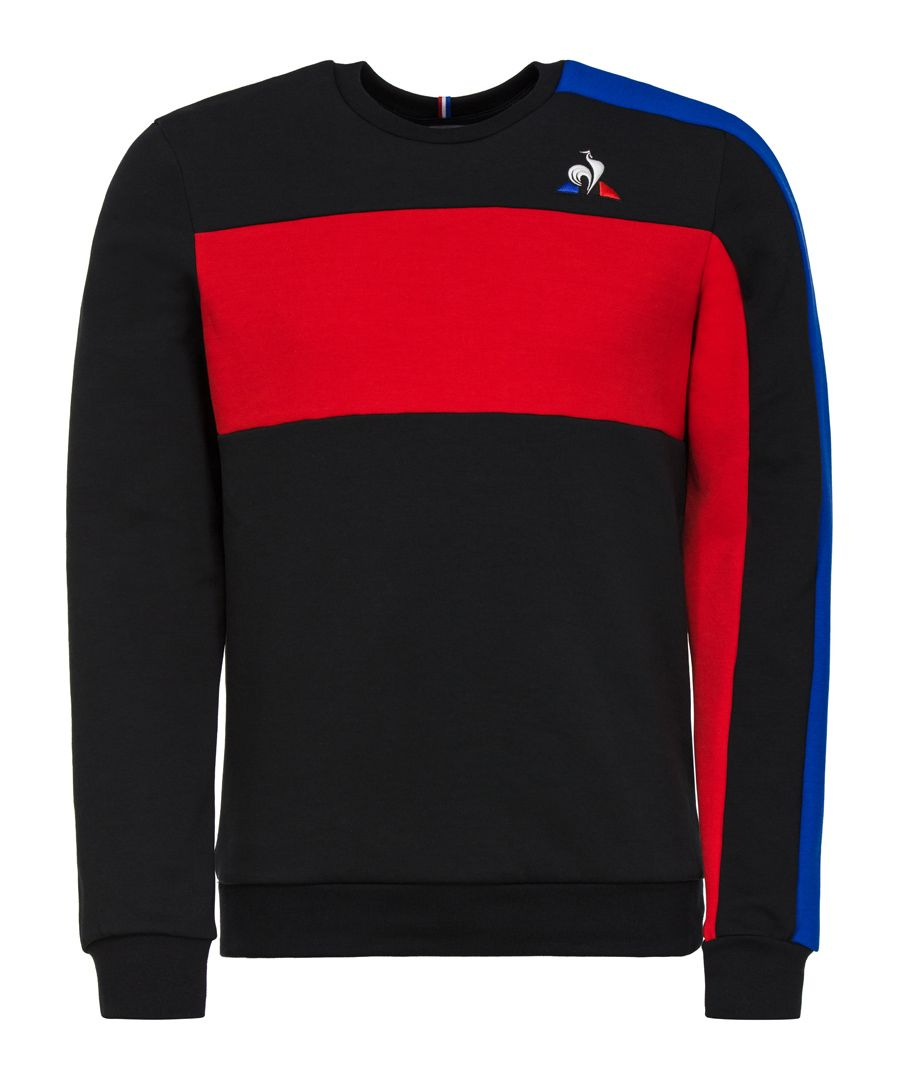 Red and black colour-block jumper