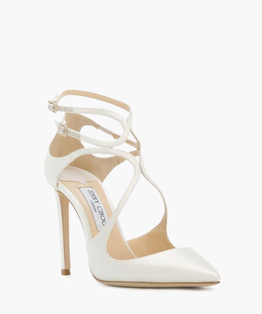 lancer white satin court heels