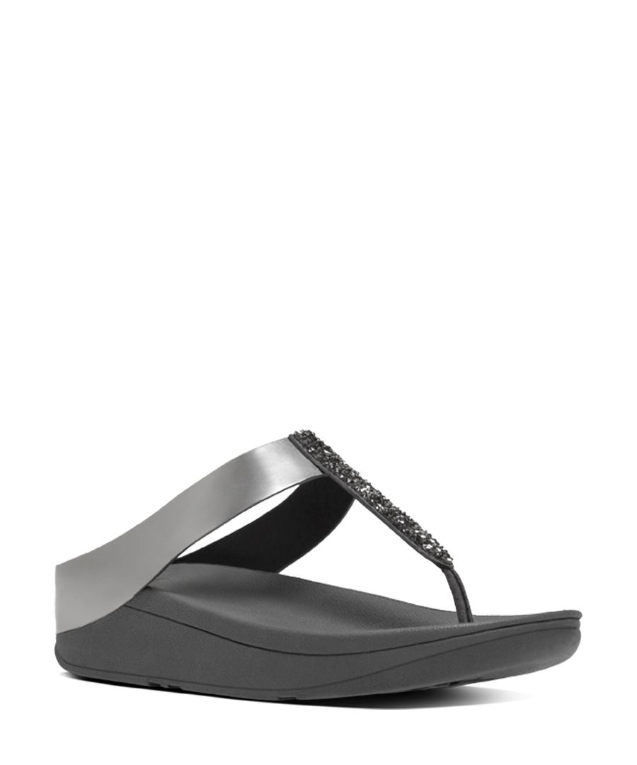 Fino pewter faux-leather toe-post sandals
