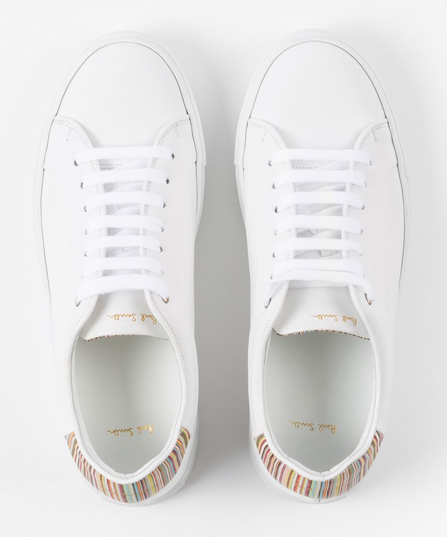 White leather stripe contrast sneakers