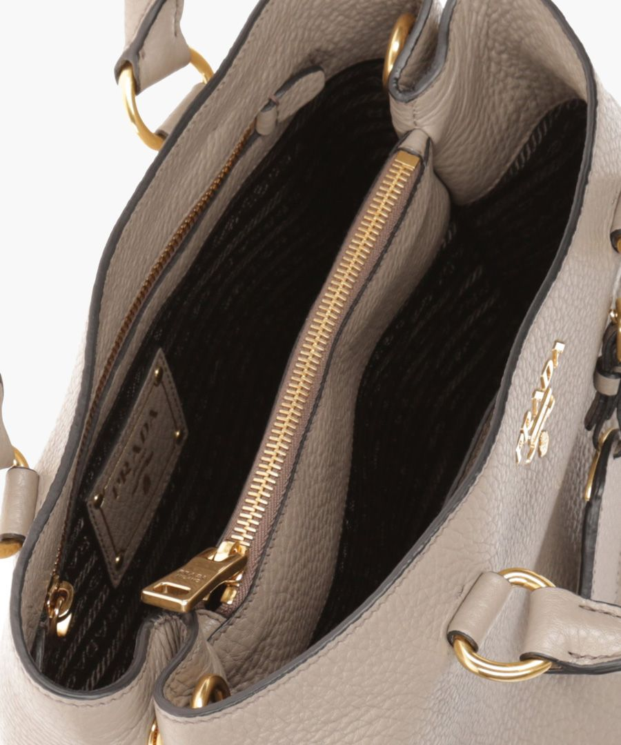 Phenix grey leather grab bag