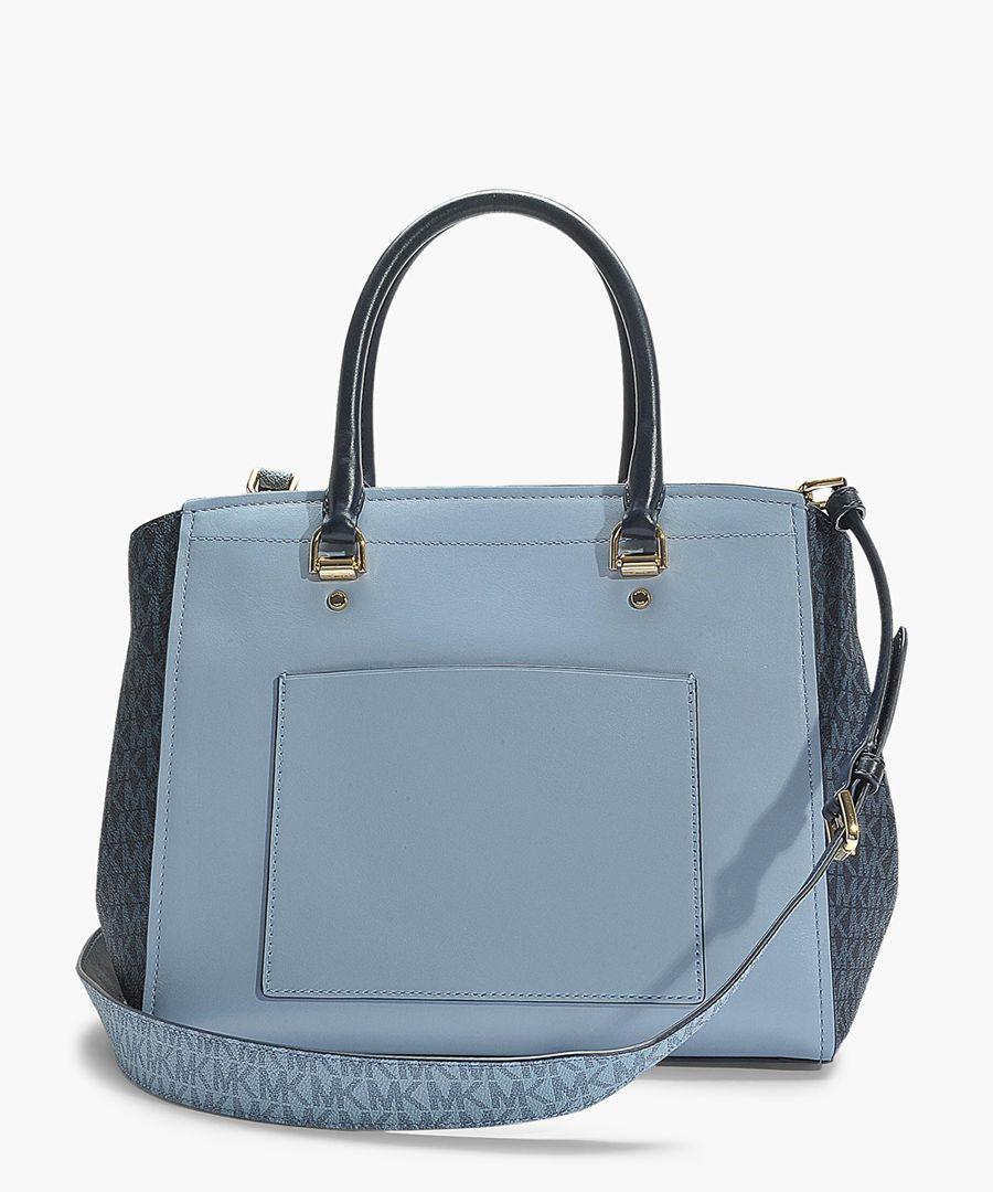 Benning large blue leather satchel