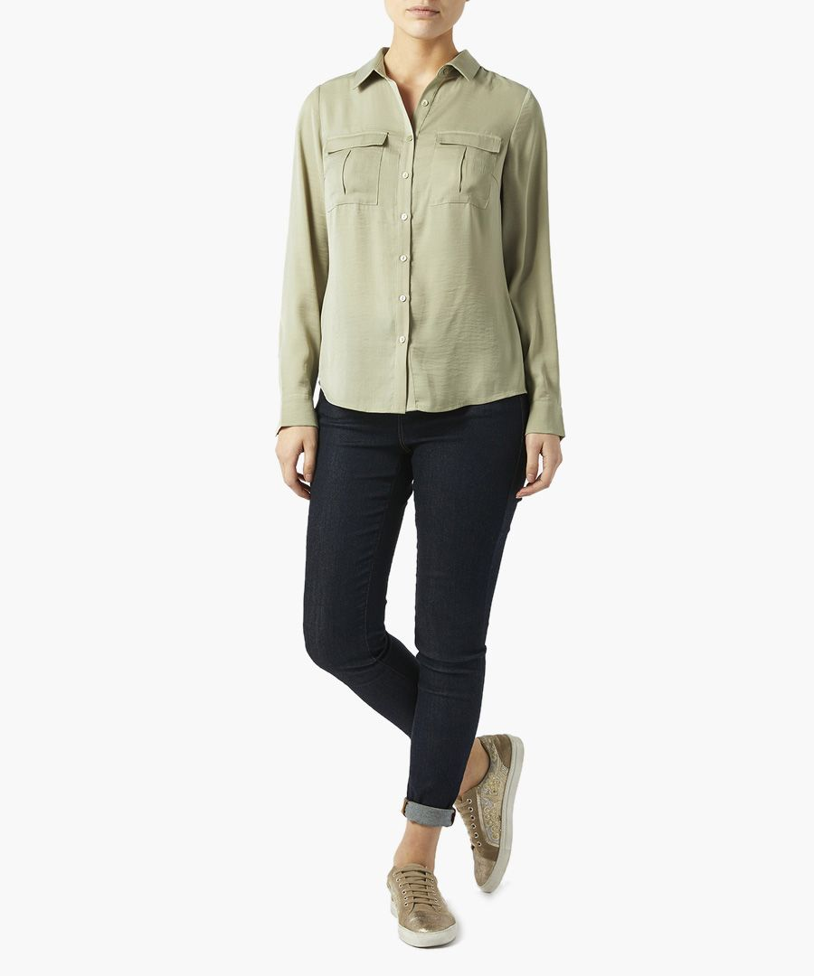 Willow green button-up blouse