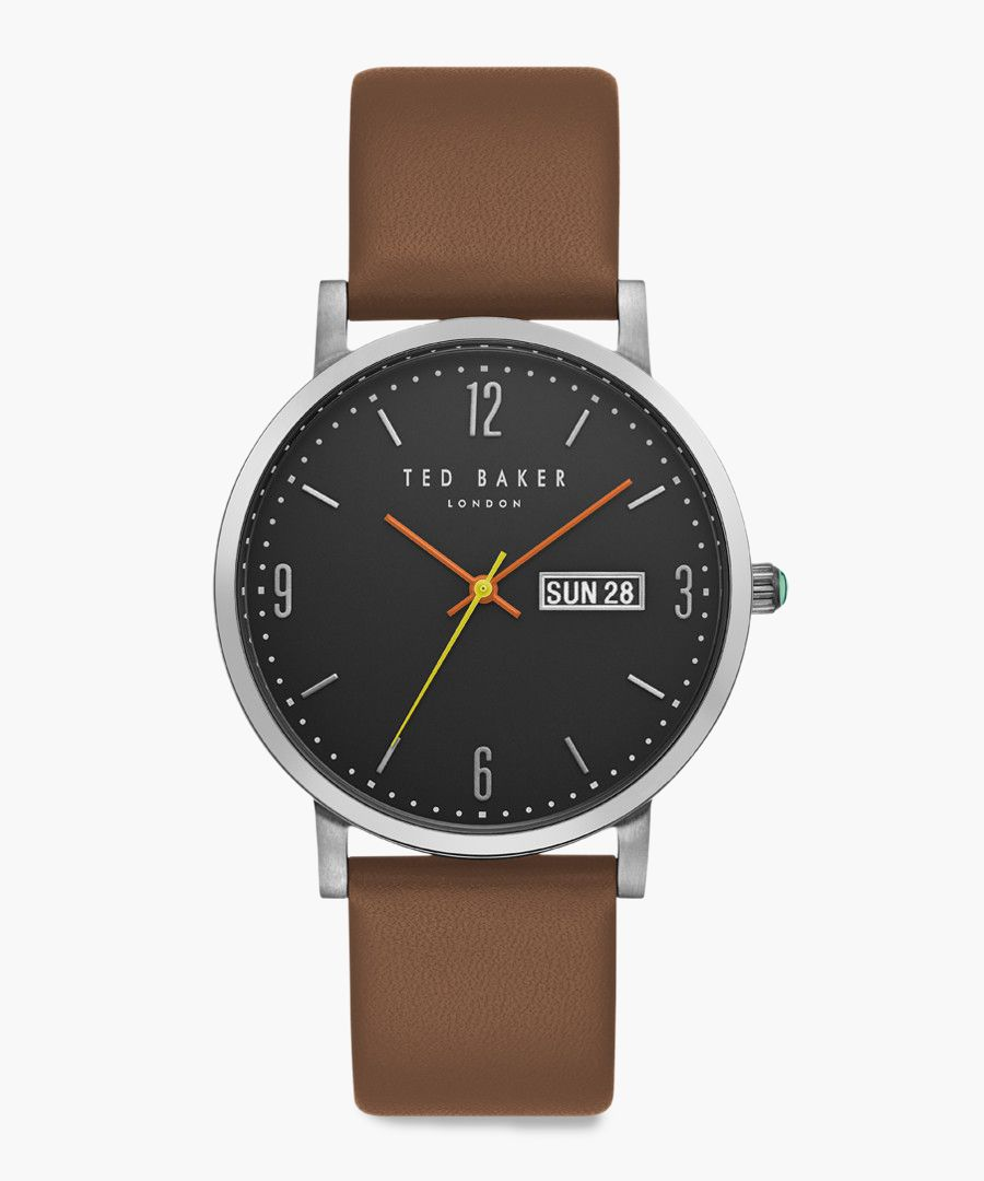 Grant brown leather and stainless steel watch