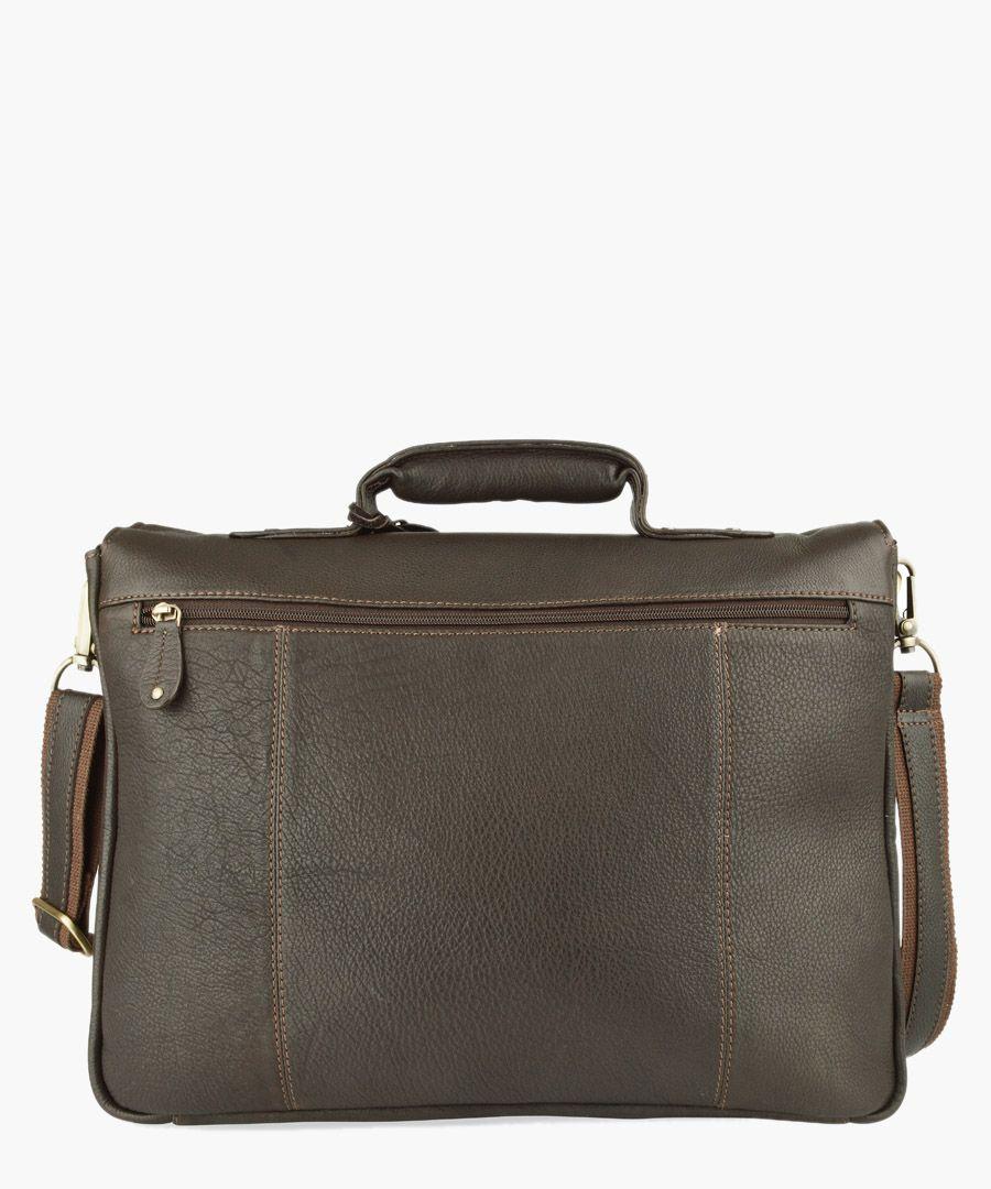 Brown leather satchel briefcase