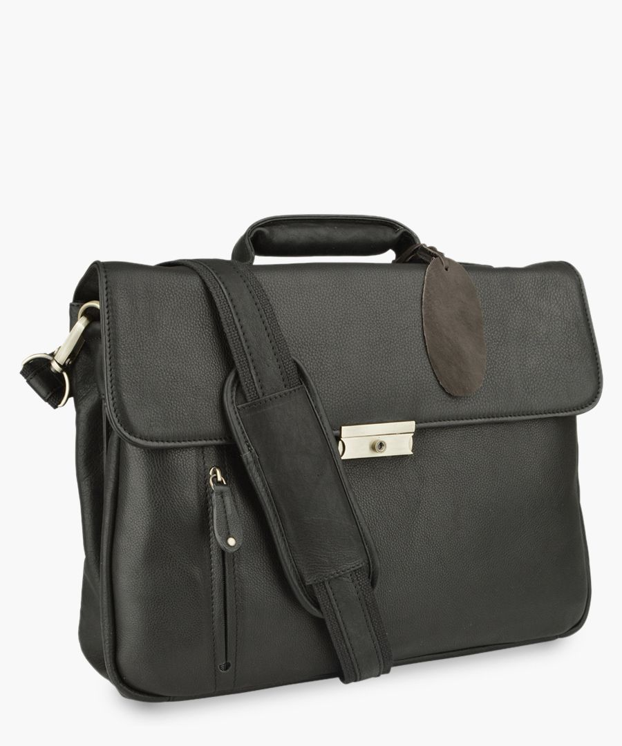 Black leather satchel briefcase