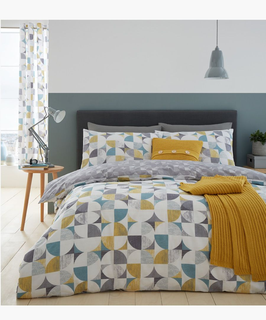 Retro circles multi-coloured cotton blend single duvet set