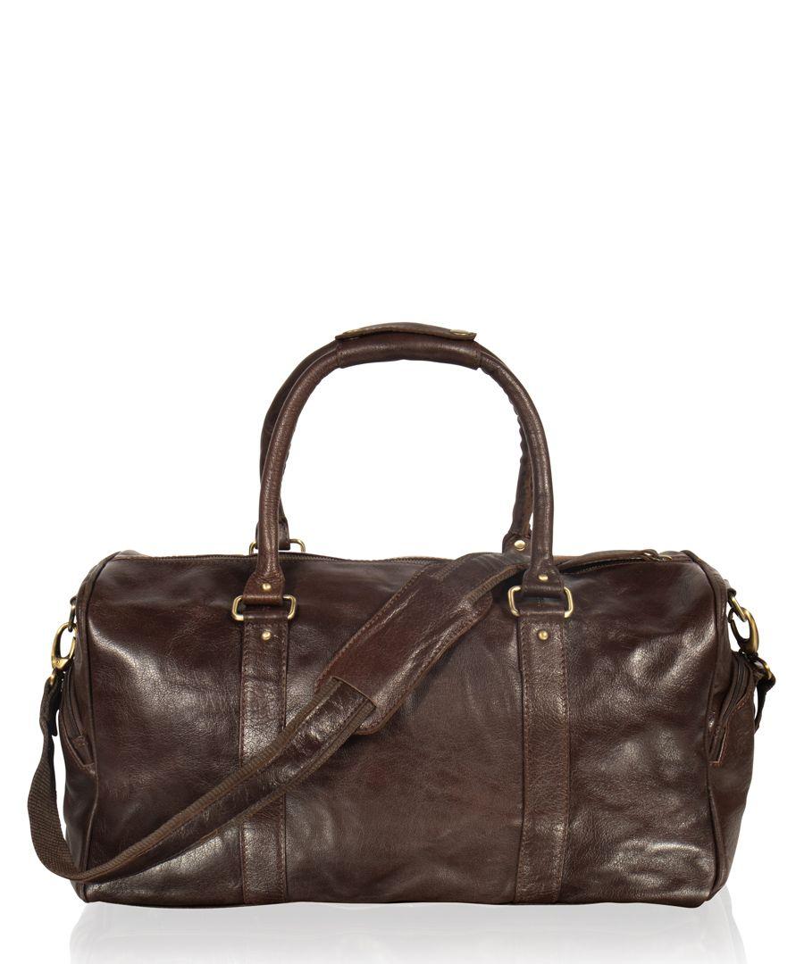 Brown leather tubular holdall