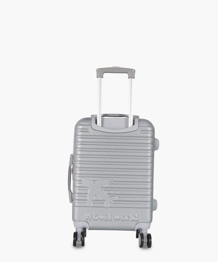 Silver-tone cabin spinner suitcase