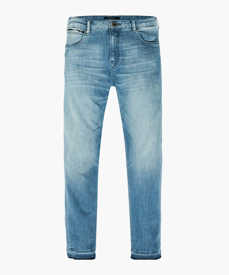 Blue cotton worn-effect straight jeans