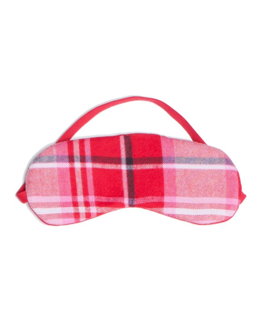 Erin red cotton check reversible eye mask