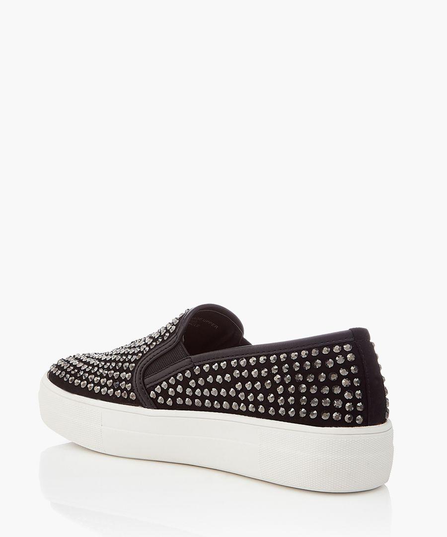 Black studded slip-ons