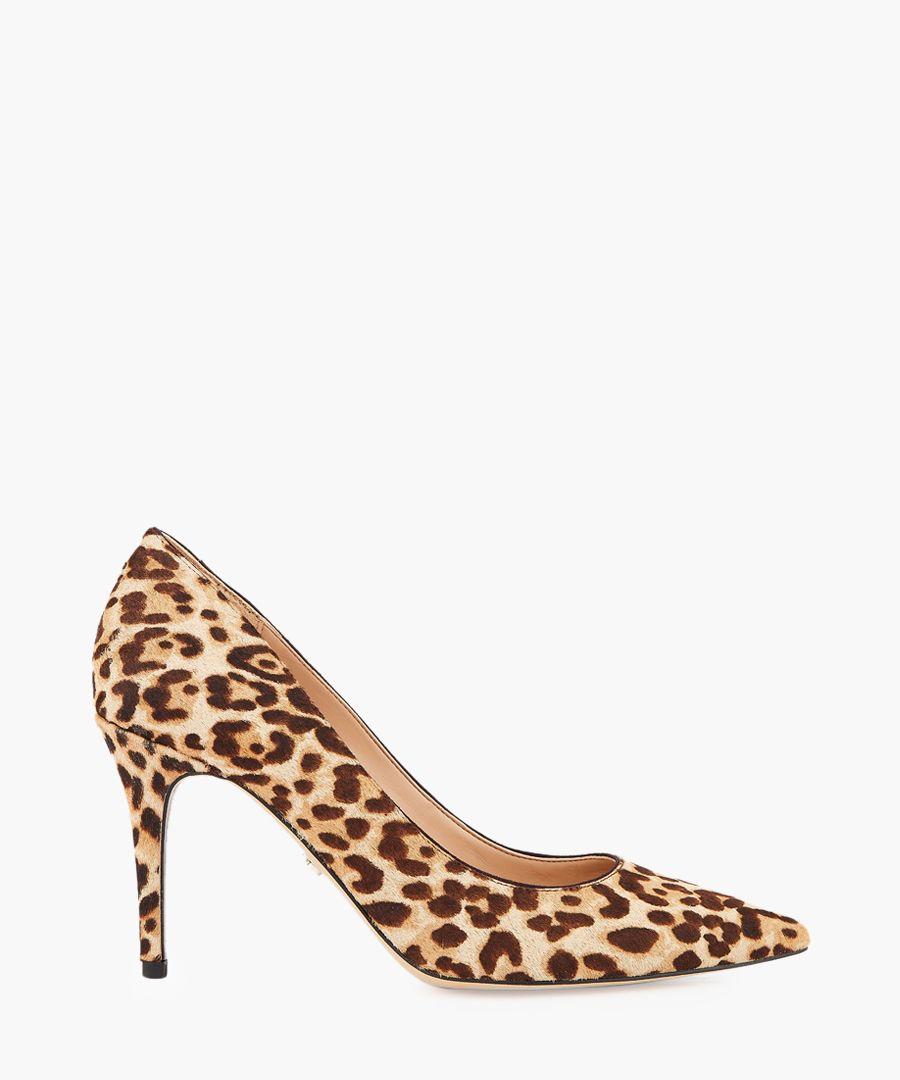 Margie leopard brahma hair court heels