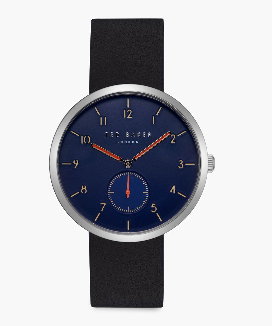 Josh black leather and stainless steel watch