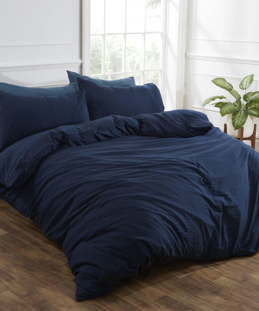 Navy washed linen-style single duvet set