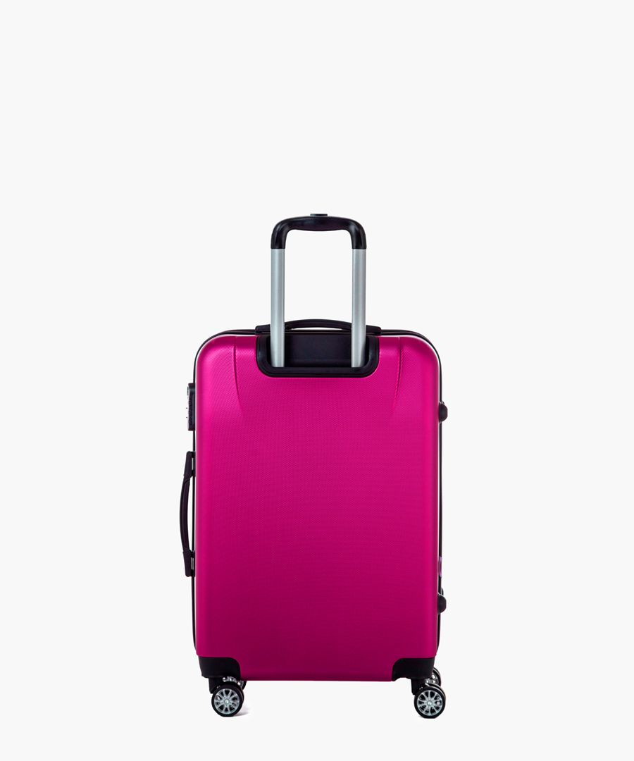 Pink spinner suitcase