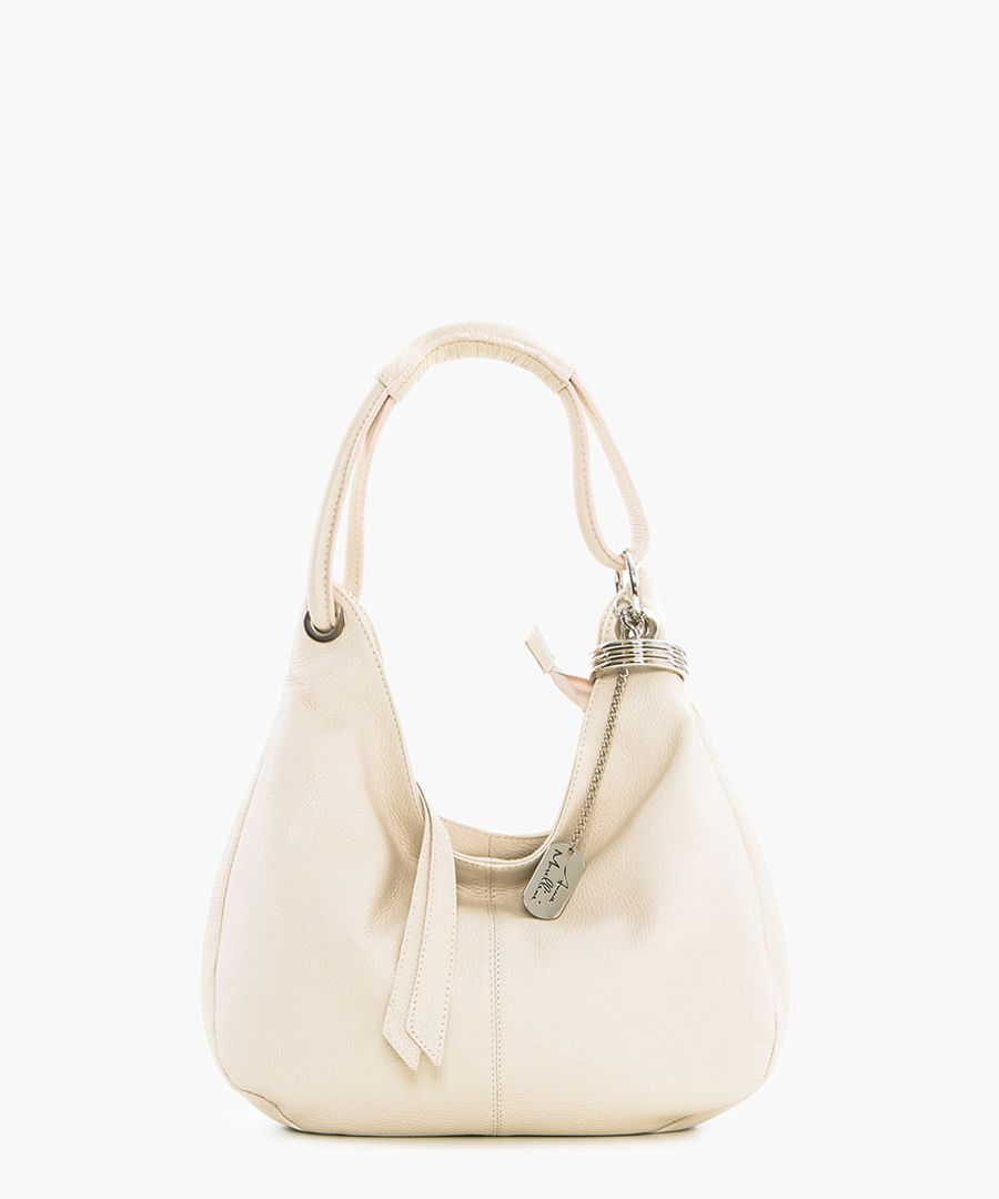 Beige leather slouch bag