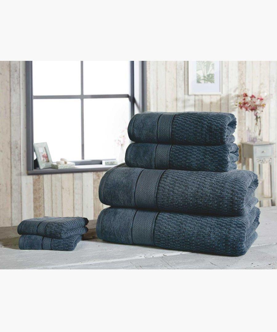 6pc navy cotton towels