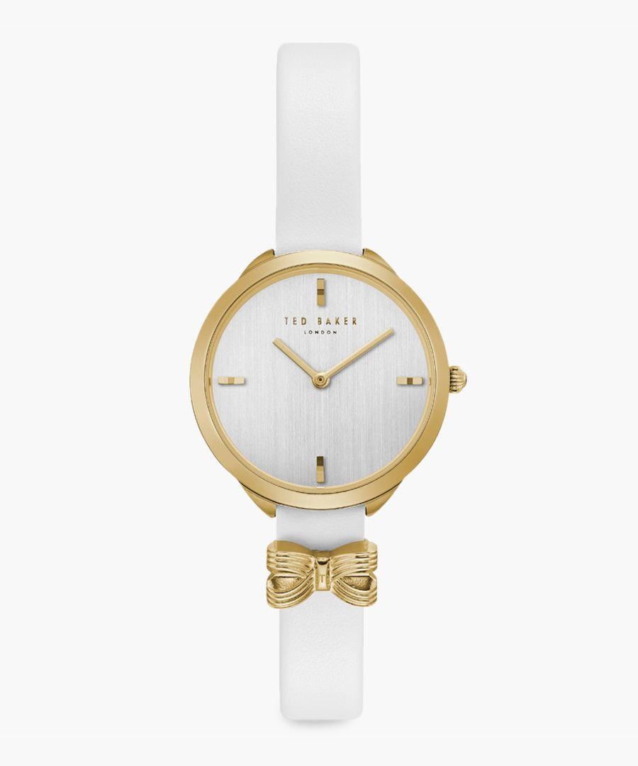 Elana white leather and stainless steel watch