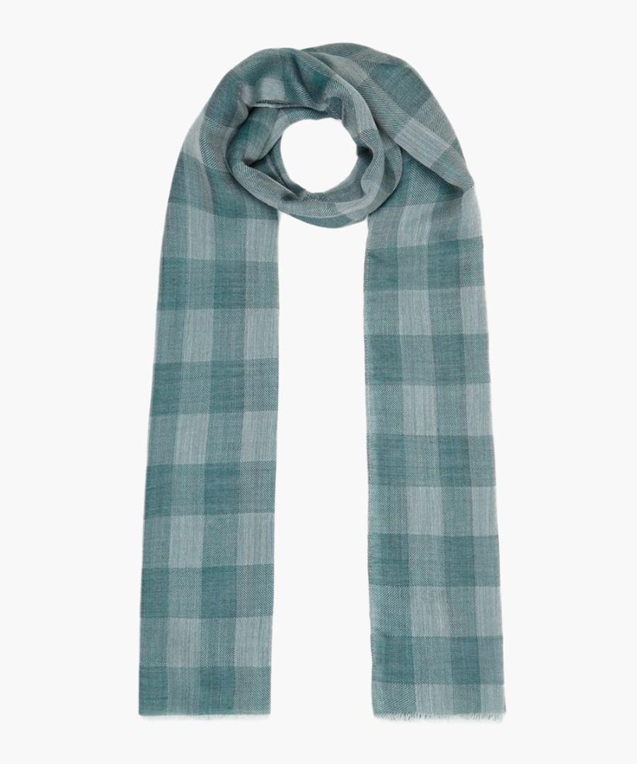 Green silk-wool blend check scarf