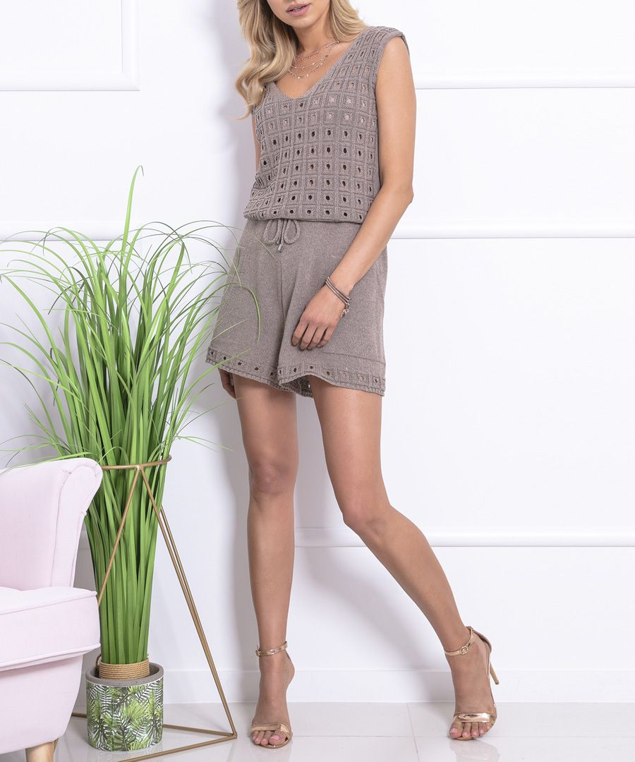 Mocca knitted cotton blend jumpsuit